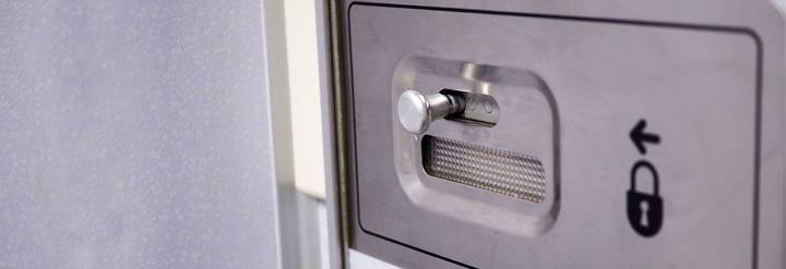 bathroom lock on plane