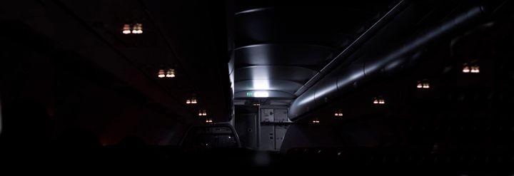 dimmed lights on plane